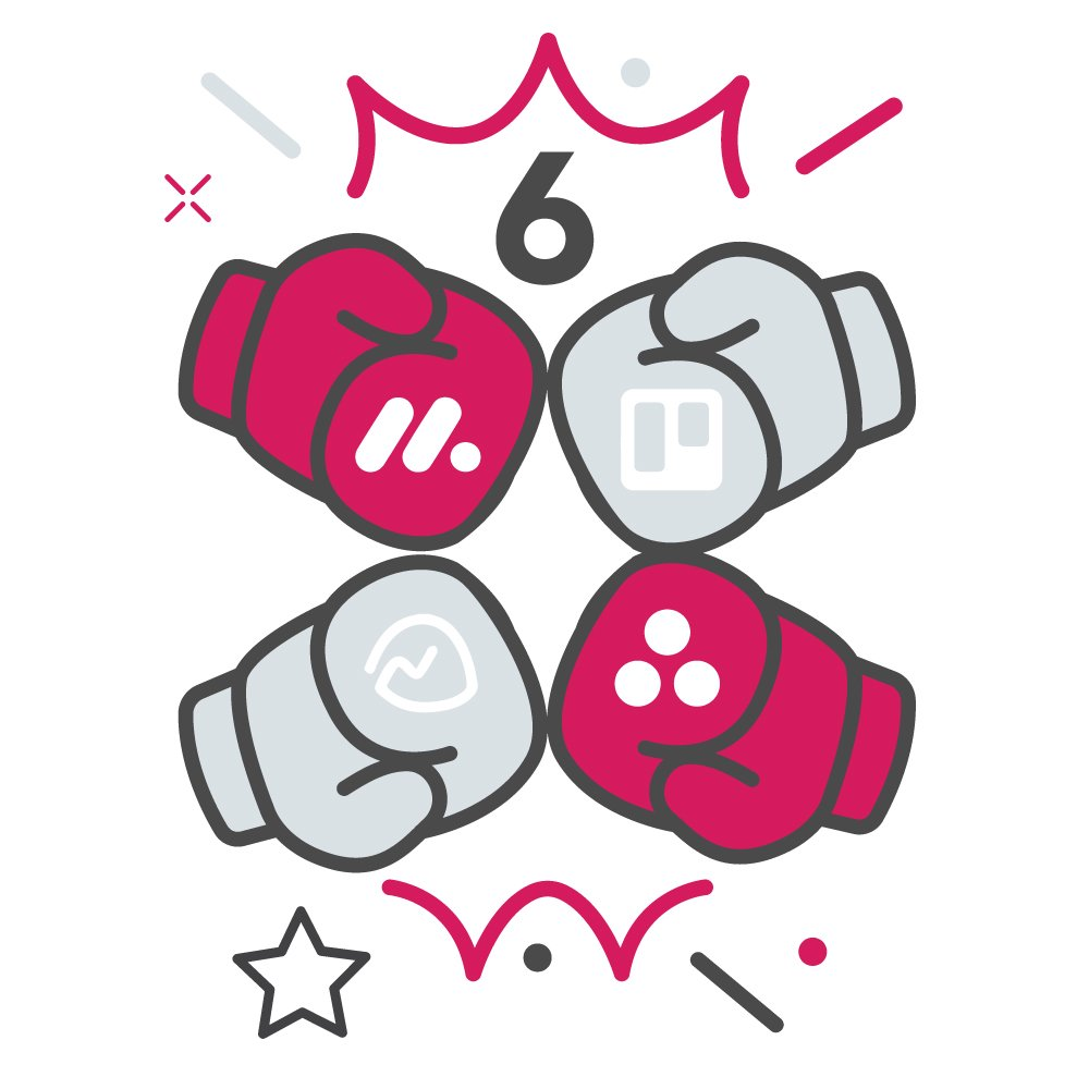 Boxing gloves with project management platform logos