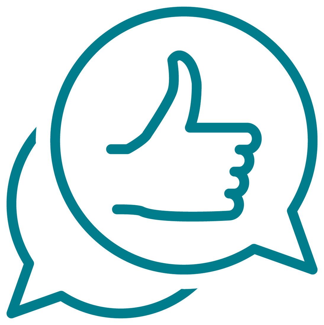 Chat bubbles with thumbs up