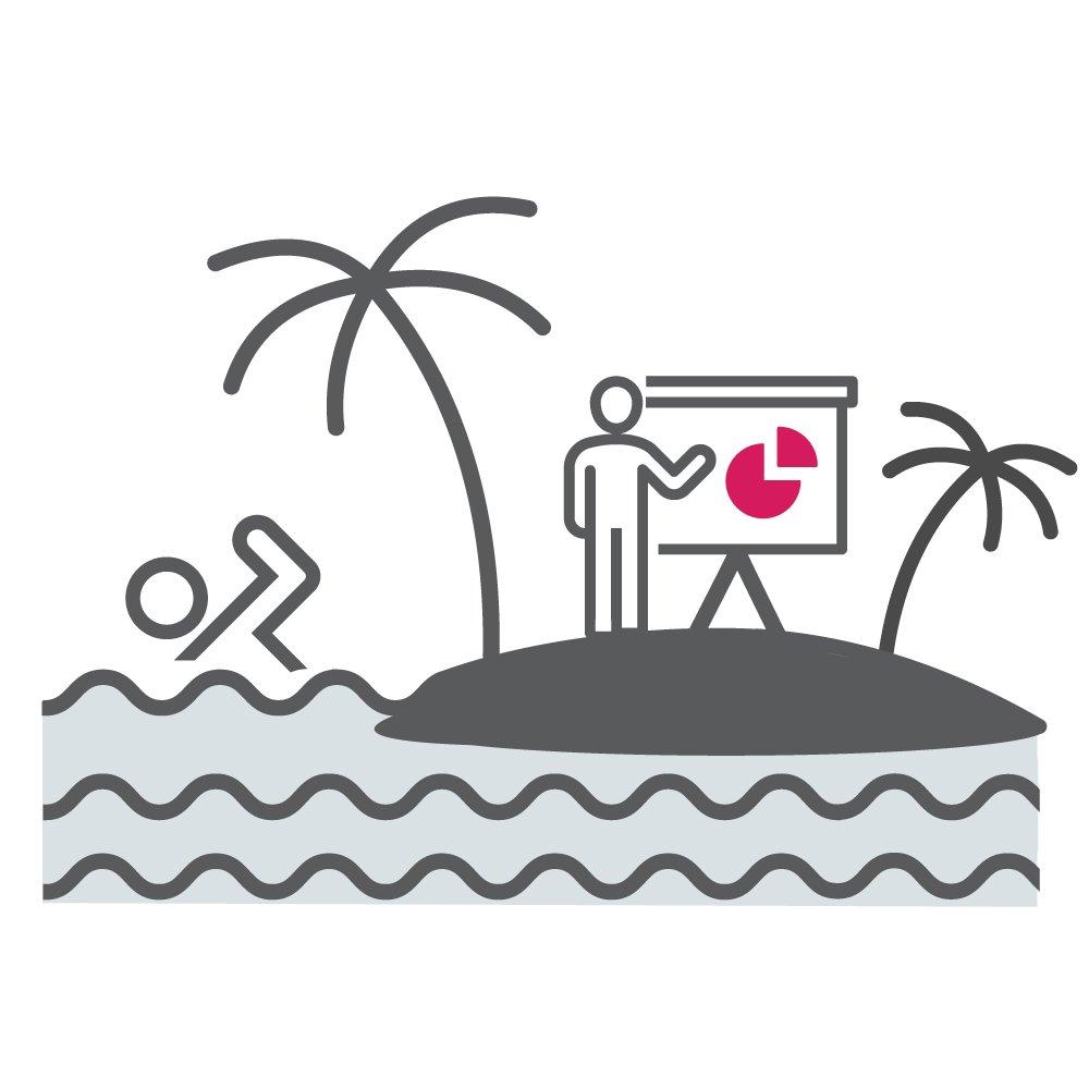 Man on an island giving a presentation